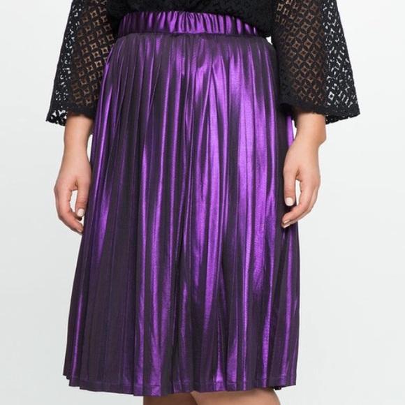 78cf64ac15a Eloquii purple metallic pleated skirt. NWT